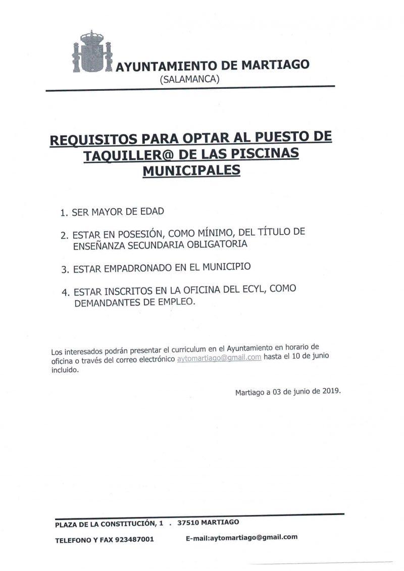 Oferta de empleo Taquiller@