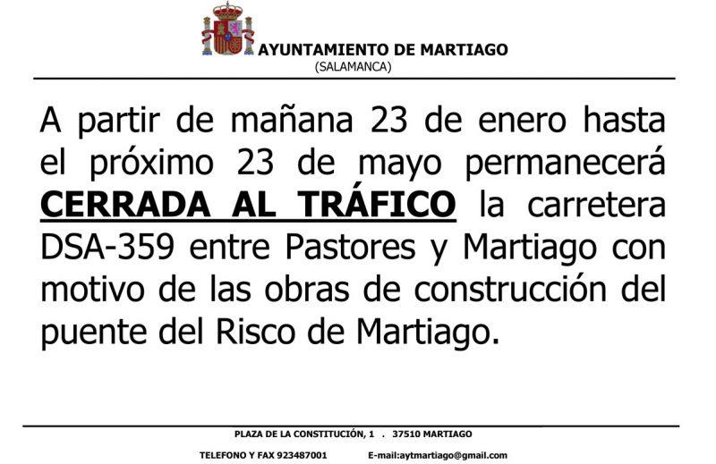 Carretera entre Pastores y Martiago cerrada